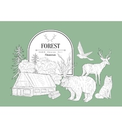 Forest themed vintage sketch vector