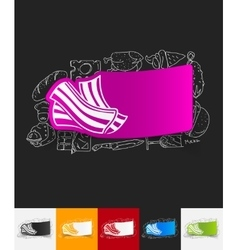 Bacon paper sticker with hand drawn elements vector