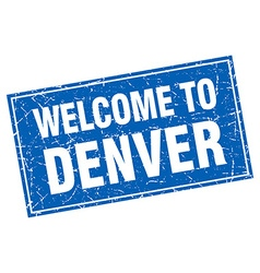 Denver blue square grunge welcome to stamp vector