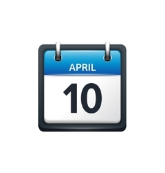 April 10 Calendar icon flat vector image