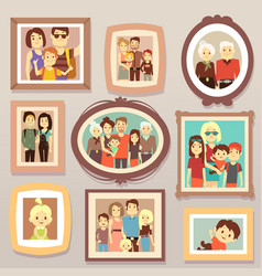Big family smiling photo portraits in frames on vector