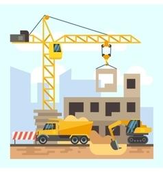 Building house construction flat design concept vector