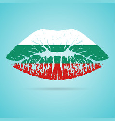 bulgaria flag lipstick on the lips isolated on a vector image vector image