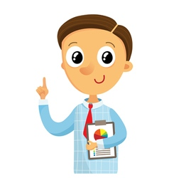 Business man holding documents and pointing finger vector