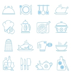 Cooking kitchen tools and food line icons vector