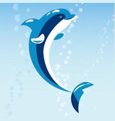 cute dolphins aquatic marine nature ocean blue vector image