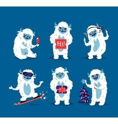 Cute yeti biigfoot monsters set vector