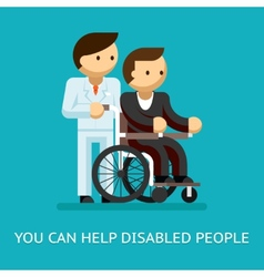Disabled people help concept vector