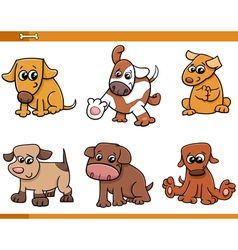 Dog characters cartoon set vector