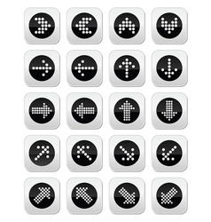 Dotted arrows round icons set isolated on white vector image