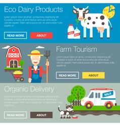 Farm organic banners vector