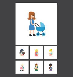 Flat icon mam set of mam parent perambulator and vector
