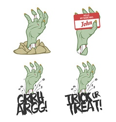 Funny halloween zombie hand design elements vector