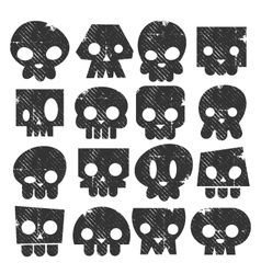 Grunge Skull Stamps Icons vector image