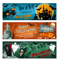 Halloween horror party banner for october holiday vector