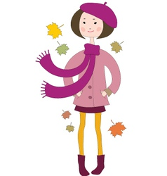 Hand drawn little girl in a coat with a scarf vector image