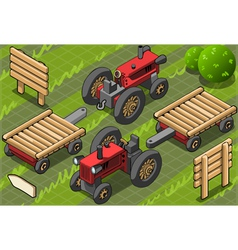 Isometric Red Farm Tractor in Two Positions vector image