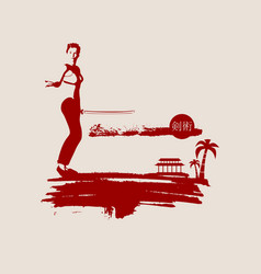Kung fu martial art silhouette of woman with sword vector