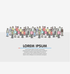 large group of people on white background vector image vector image