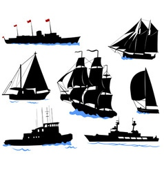 Offshore ships set vector