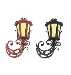 old black and brown vintage lamps vector image