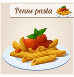 Penne pasta with tomato sauce vector
