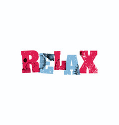 Relax concept colorful stamped word vector