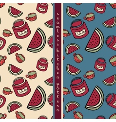 Set of food seamless pattern vector