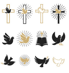 Set of religious signs cross with dove holy vector