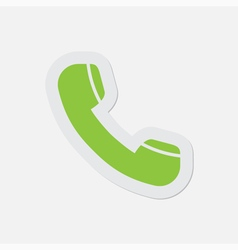 simple green icon - telephone handset vector image vector image