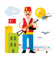 Turkey airport security officer flat vector