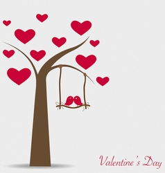 Valentine background with tree and bird vector image