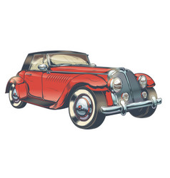 vintage of red retro car in vector image vector image