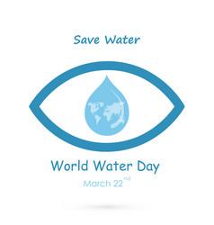 Water drop with human eye icon logo design vector