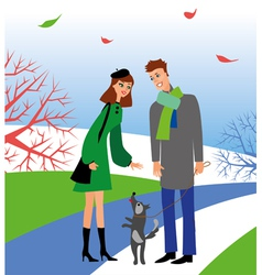 Woman and man with dog vector
