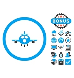 Aircraft flat icon with bonus vector