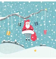Hanging Santa vector image