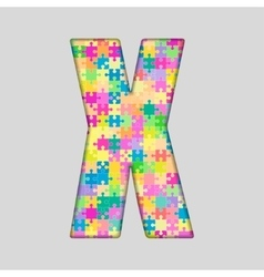 Color piece puzzle jigsaw letter - x vector