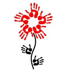 handprint in the shape of a flower vector image