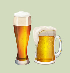Two big glasses with frothy beer graphic icon on vector