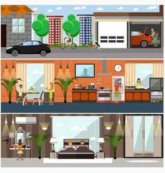 Set of house posters banners in flat style vector