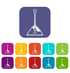 Balalaika icons set vector