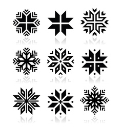 Christmas winter snowflakes icons set vector image