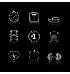 Fitness sport wellness healthcare icons set vector