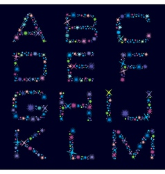 Festive alphabet of bright color stars character a vector