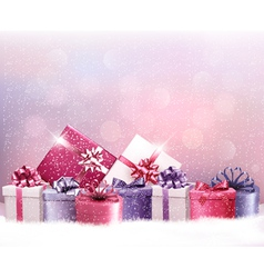 Christmas holiday background with presents vector