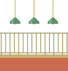 Empty balcony with ceiling lamps vector