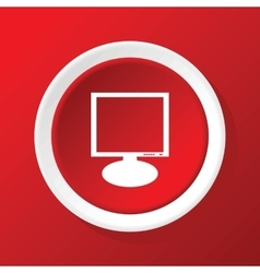 Monitor icon on red vector