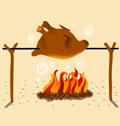 Roast chicken in the spit vector