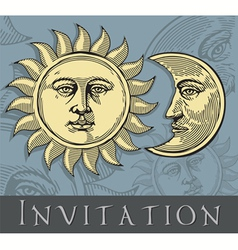 invitation card with sun and moon vector image